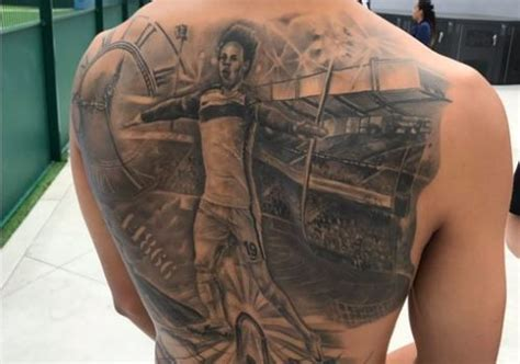 leroy sane s massive tattoo of himself across his back is