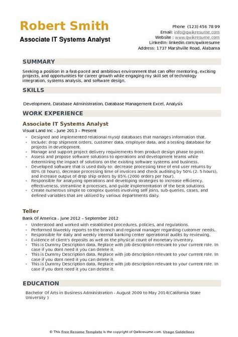 business analyst resume sample pdf new systems analyst resume