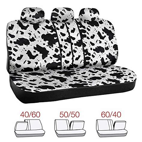 cowhide bench seat cover bdk black and white animal print cow seat covers set w