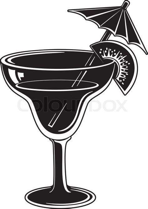 margarita clipart black and white glass with drink black pictogram stock vector colourbox
