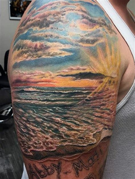 75 beach tattoos for men serene sandy shore designs