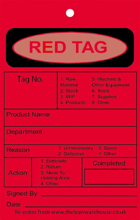 Red 5s Tags 5s Tag Template