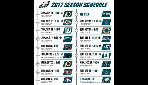 2017 nfl schedule release eagles announce 2017 season schedule autos post