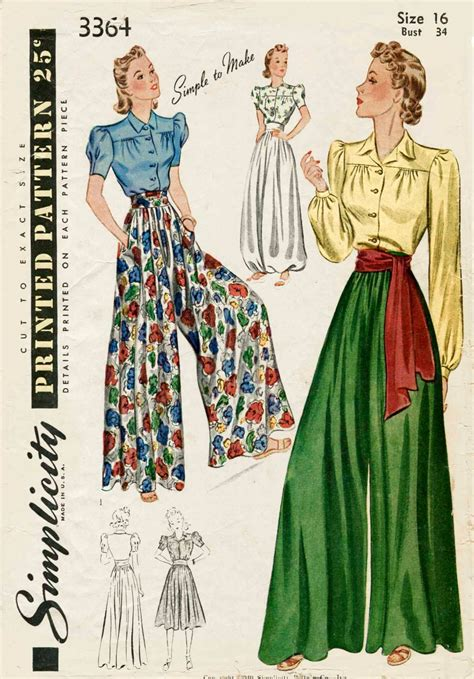 vintage pattern trousers 1930s 1940s vintage sewing pattern palazzo pants wide leg