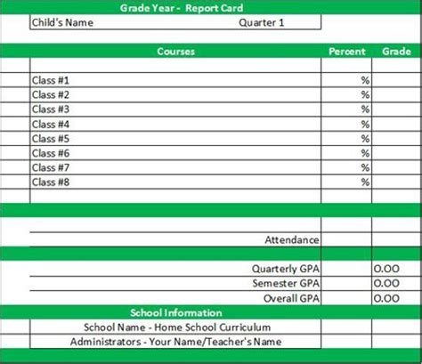 homeschool high school report card template 25 best images about homeschool grade cards on