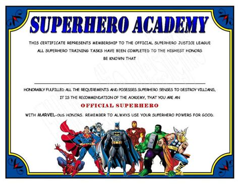 superhero academy certificate digital file instant download