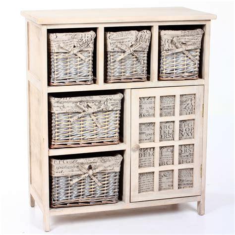 cassettiere decorate meuble 1 porte 5 paniers lys gris