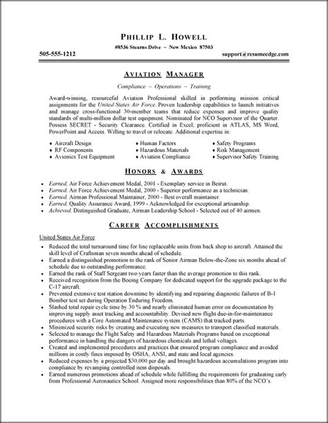 Army Sle Resume by Air Resume Exles Resume Format 2017