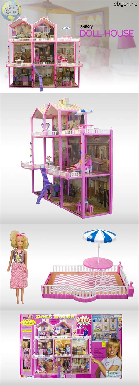 huge doll house huge 210pc doll house set 3 story 8 rooms fits barbie ebay