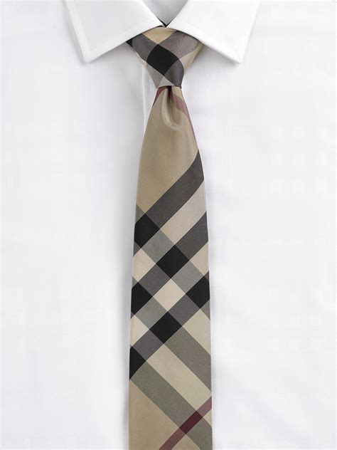 burberry modern cut check silk tie in black for beat