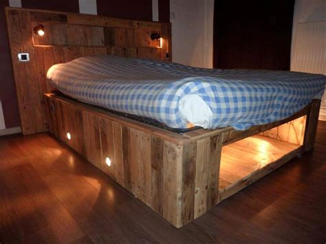 pallet bed with lights amazing pallet furniture projects for home 101 pallets