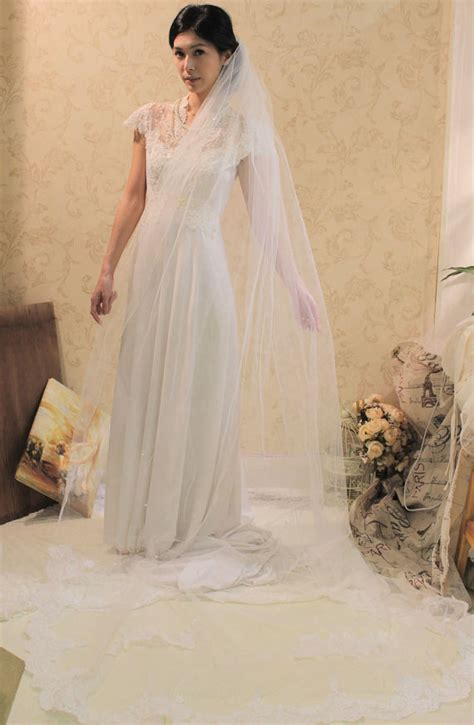 Wedding Hairstyles With Floor Length Veil by Alencon Lace Cathedral Length Wedding Veil Soft Tulle
