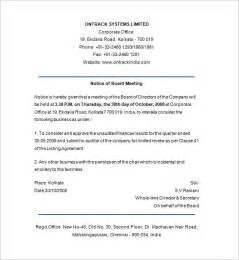 Notice Of Board Meeting Template notice of meeting template 10 free word excel pdf