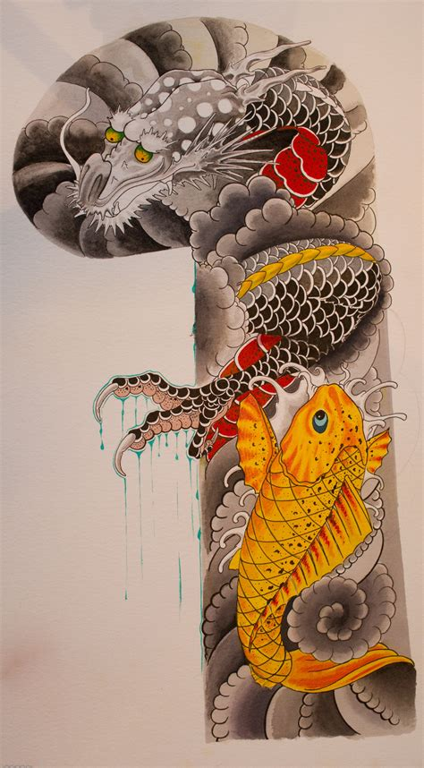 koi dragon sleeve tattoo designs japanese images designs