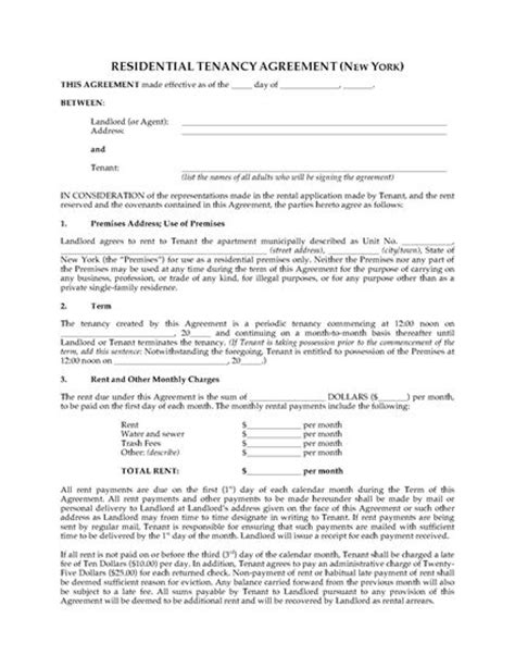 Unh Mba Apartment Waiver by New York Apartment Rental Agreement Forms And