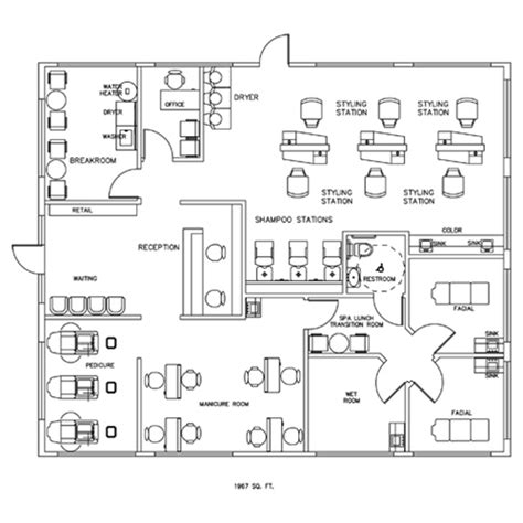 hair salon layout cad salon spa design cad layout 1967 square foot