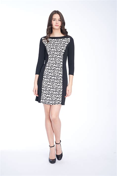 Color Block 3 4 Sleeve Dress color block 3 4 sleeve dress in black and white geo