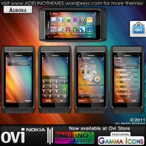themes ovi store aurora exclusively with gamma icons adelino design lab