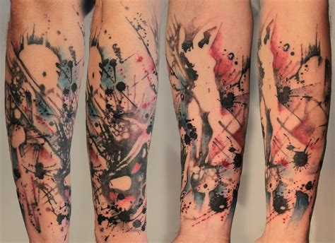 abstract tattoos abstract splatter half sleeve by gene coffey