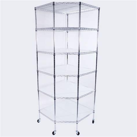 heavy duty wire steel 6 tier layer corner shelf garage