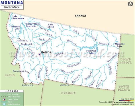 map of usa missouri river bodies of water of montana