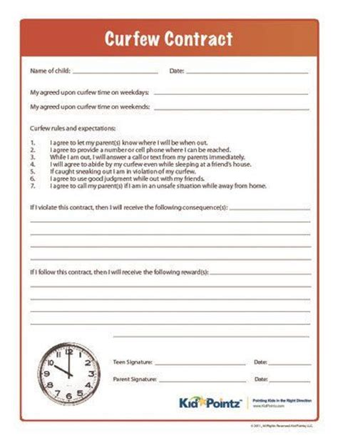 Curfew Contract Kid Pointz Parenting Pinterest Kid Parenting And Behavior Contract Parent Child Contract Templates Free