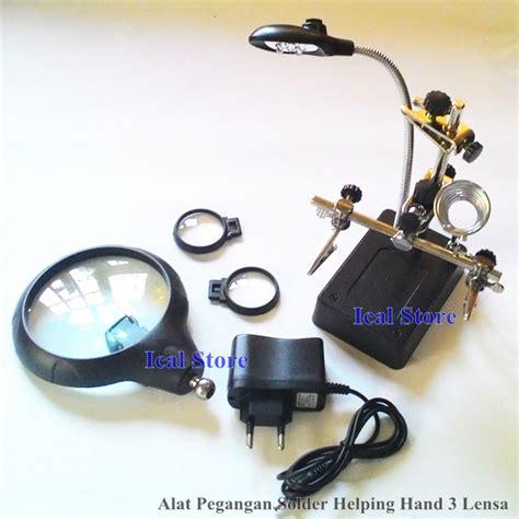 Kaca Pembesar Led 2 Lensa jual alat pegangan solder helping 3 lensa kaca