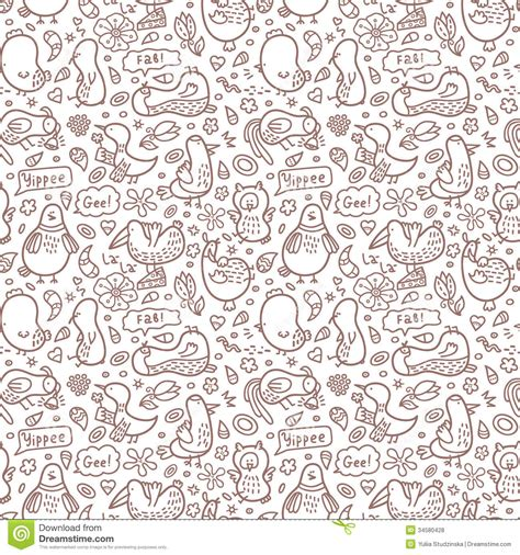doodle pattern vector free outline doodle birds pattern royalty free stock photos