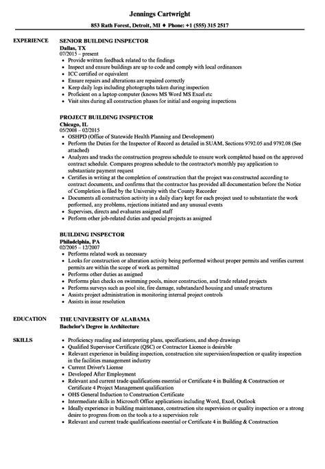 building inspector resume sles velvet jobs