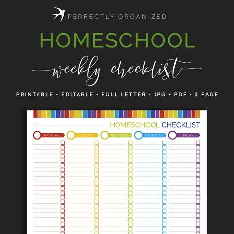 homeschool lesson planner pdf weekly homeschool checklist kids childrens lesson plan chart