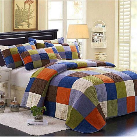 100 cotton europe style patchwork grid plaid queen size