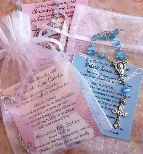 Christening Giveaways - baptism favors rosaries in mini organza bag and card