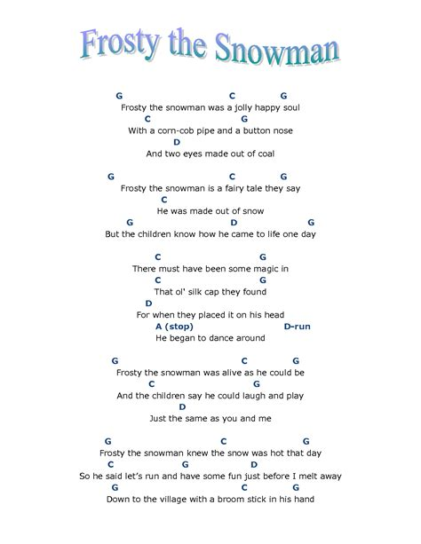 printable lyrics 6 best images of words to frosty the snowman printable