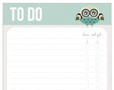 owl to do list printable owl planner goodies on pinterest owl free printable and