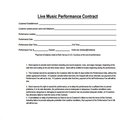 performance contracts templates performance contract template 11 free