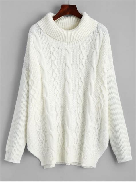White Sweater by Oversized Turtleneck Cable Knit Sweater White Sweaters