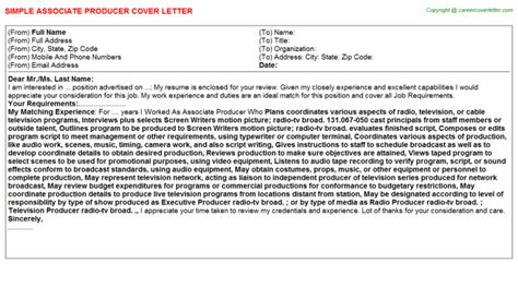 Associate Producer Cover Letter by Associate Producer Cover Letter Sle