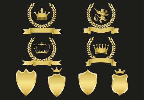 gold emblems vector   vector art stock