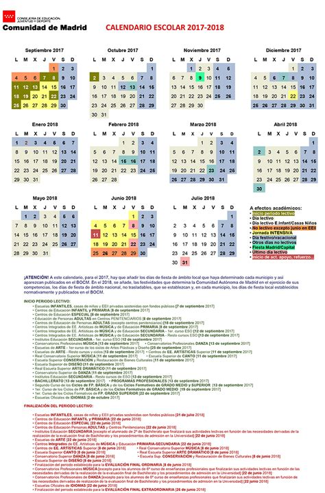 Calendario 2018 Comunidad De Madrid Calendario Escolar