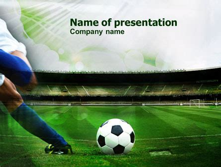 A Kick In Soccer Powerpoint Template Backgrounds 00835 Poweredtemplate Com Powerpoint Football Template