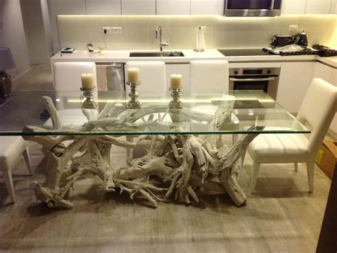 beautiful driftwood dining table hand crafted from gulf