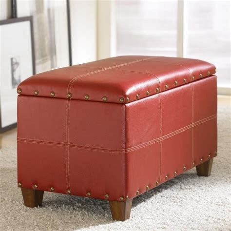 red storage ottoman cube hammary hidden treasures storage ottoman red