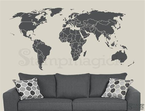 world map with country names decal world map wall decal countries border wall sticker