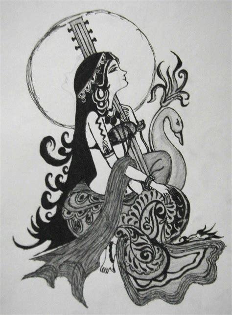 saraswati tattoo designs hindu god goddess saraswati pencil sketching