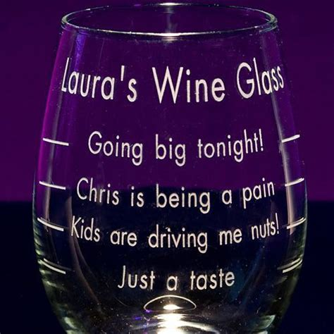 engraved measured stemless wine glass wine glass sayings