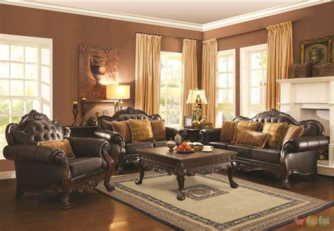 Amairani Traditional Brown Faux Leather Sofa Loveseat Faux Leather Living Room Set