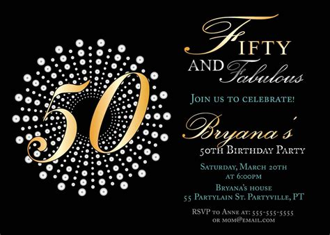 50th birthday card template impressive 50th birthday invitation template