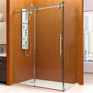 36 inch frameless glass shower door dreamline enigma 36 quot by 60 1 2 quot fully frameless sliding