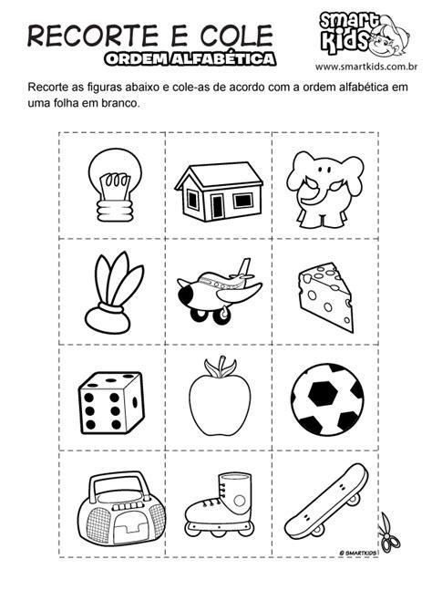 D T Auto Kinder La by Atividade Recorte E Cole Ordem Alfab 233 Tica Atividades