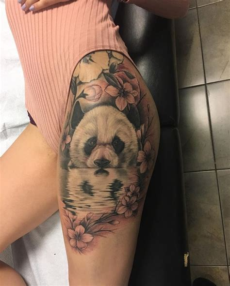 hip thigh tattoo designs panda plum blossom hip tattoos tattoos